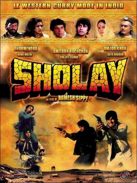 Sholay movie poster Indian blogbuster