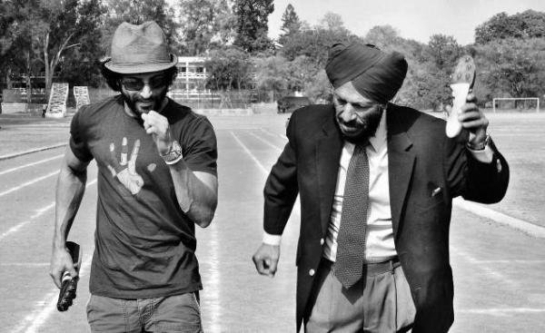 Farhan Akhtar Bhaag Milkha Bhaag with Milkha Singh