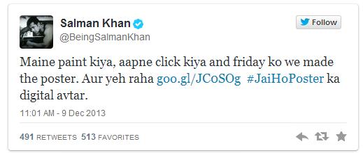 salman tweet for Jai ho Poster